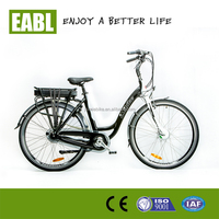 26inch high speed electric bike for ladies with 36v/10ah lithium battery and 250w brushless geared hub motor