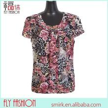 F176-1coffee# womens fashion clothing chiffon tops flower blouse 3XL/4XL/5XL/6XL/7XL/8XL OEM