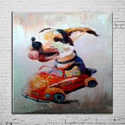 Professional Factory Wholesale Various Animals Dog Series Oil Painting On Canvas Hand-painted Dogs Oil Painting For Living Room