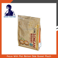 Safty food grade plastic flat bottom packaging for nuts and top ziplock