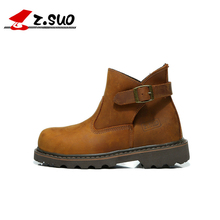 Autumn Western Style Women's Tooling Boots High Quality Crazy Horse Leather Buckle Female Ankle Boots Hand Stitching Short Boots