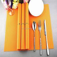 Factory price 75g PVC woven straw placemat orange pure color 1*2 series 45*30cm