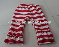 2013 wholesale girls red white striped pants cotton striped pants for baby girls casual petti pants with ruffles