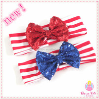 Wholesale new arrival sequin bow headband baby girls headband with elastic band