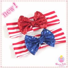 Wholesale new arrival sequin bow headband baby girls headband with elastic band