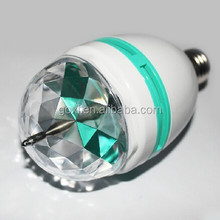 Party e27/b22 rgb 3w led rotating bulb with 360 degree