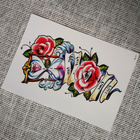Beautiful Non-metallic Temporary Tattoo Sticker with Sand Clock Design