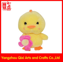 Lovely soft chick wholesale plush yellow chicken toys with flower
