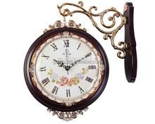 Chiffres romains + chiffres arabes Double - face horloge murale Antique pour chambre GBZ-9005