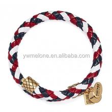 Latest Stylish Jewelry Team USA Braided Leather Wrap Bracelet