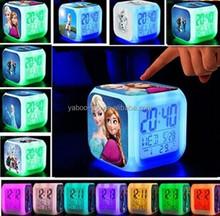 (Hot) 2015 Hot Movie Frozen LED Alarm Clock, Minions Digital Alarm Clock, Cartoon Clock for Kids