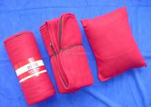 100% polyester fleece travel sets / fleece blanket + sleeping bag + pillow