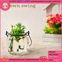 Small Lot Customize Blown Glass Hanging Pumpkin Shaped Hydroponic Vase Flower Planter