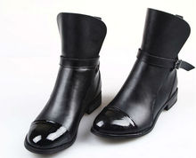Designer Top Brand Black Leather Boots,Boots with Buckle Strap for Women