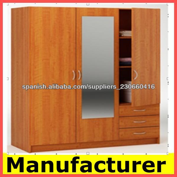 Armario de melamina para muebles para el hogar armarios for Roperos empotrados para dormitorios con espejo