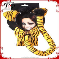 halloween yellow tiger party headband set with bowtie and tail