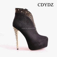 CDYDZ R969-83910A Roman Luxury frosted diamond rivets waterproof high-heeled side zipper Boots for Women winter 2015 fashion