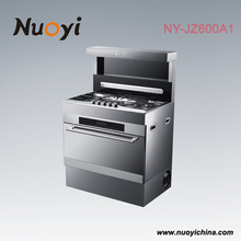 Range hood + stainless stell gas stove + oven