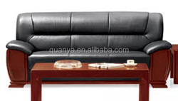 Wooden frame with black leather sofa set