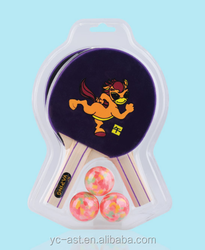 Colourful Chinese horoscope patent ping pong paddle SET for children: Horse