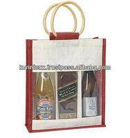 Fashion cheap promotional natural jute wine bag