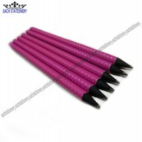 Black Wooden Pencil With Pink Painting And Silver Point 2011 New Design