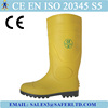 CE standard yellow color PVC safety rain boots with steel toe