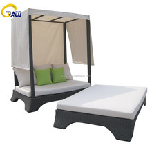 Outdoor furniture rattan round sun bed