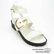 black sole ankle strap fashion shoes iron buckle design women gladiator new sandals