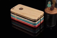 2015 new design wooden pattern back cover mobile phone case for iphone 6 6plus with Metal bumper frame case