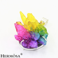 Hermosa Jewelry NEW ARRIVAL Trendy Colorful Druzy Gemstone Silver Necklace Pendants Jewelry Charms