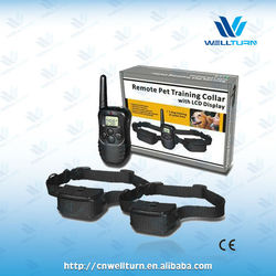 CAmazon Best price 2 dogs custom-made 300m remote Beep+statc shock+vibration 100 correction levels training collar WT717