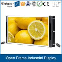 FlintStone 32 inch indoor industrial embedded cctv monitor / frameless lcd monitor with VGA input