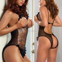Cherry Red Ladies Adult Sexy Open Crotch One Piece Bodysuit String Teddy Lingerie