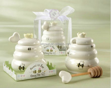 """Meant to Bee"" Ceramic Honey Pot + heart honey stirrer Wedding Gift Porcelain Honey Jar"