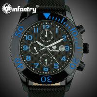 INFANTRY Casual Black Leather Men's Quartz Sports Wrist Watch