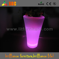 RGB colors led glowing clear plastic flower vases with US, EU, UK, AU power adapter options