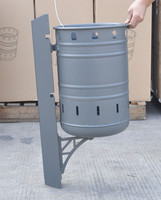 steel dump bin on wall turnover with powder coating, dust bin, garbage bin