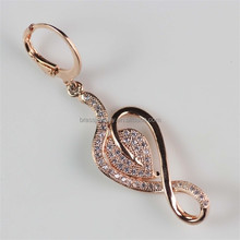 Fashion New Designs Musical Symbols Shape Zircon Diamond Inlay Rose Gold Drop Earrings in Bulk