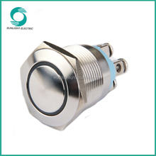 2015 new19mm illuminated screw terminal with round head 1no high quality waterproof metal low voltage push button switch
