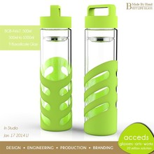 Lead Free Modern Wholesale Handcrafted Pyrex Glass Water Bottle With Fruit Infuser