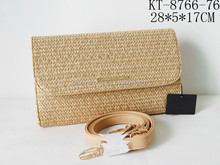 Straw And PU Leather Message Shape Ladies Cross Body Handbag With Foldable Long Strap