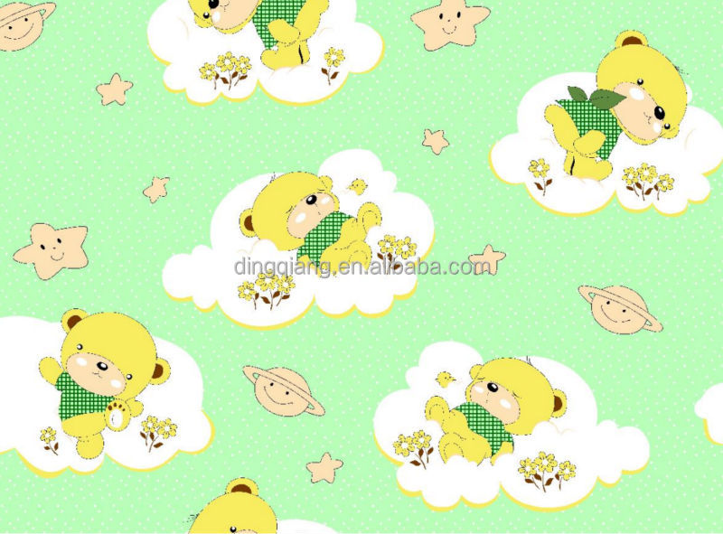 Printed fabric polyester fabric in changxing dingqiang textile co - Little Bear Cartoon Design Microfiber Disperse Print