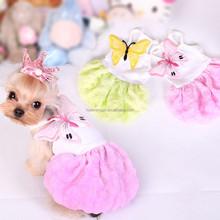 Fancy pet dress beautiful dog dress with butterfly pattern