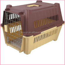 Plastic pet carrier cage airline dog travel carrier with wheels