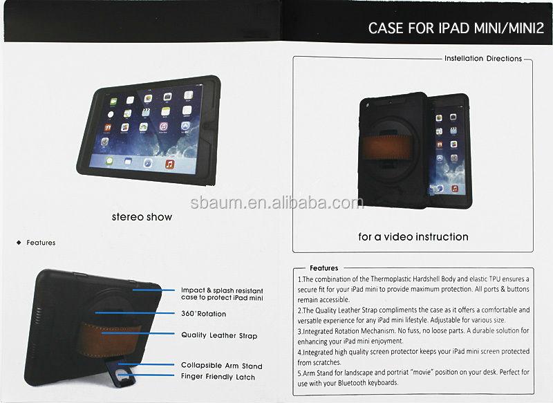 360 Rotating Hand Holder Kickstand Case For IPAD MINI,360 degree rotate for ipad case