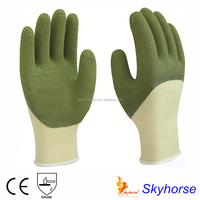 High Grade Polyester Latex 3/4 Coated puncture resistant latex gloves