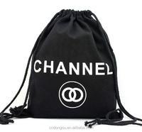 100% cotton eco friendly black velvet backpack drawstring bag