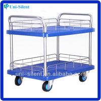 200kg Two Tier 4 wheel Plastic Heavy Duty Bar Cart PLA200Y-T2-HL2-D