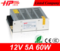 Guangzhou high quality constant voltage single output cctv camera switching power supply 5 amps 60w 12v switching adapter